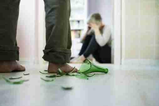 Woman afraid of domestic violence.
