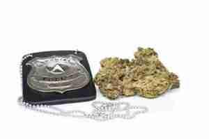 Police badge and marijuana