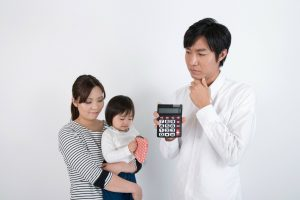 Father with calculator