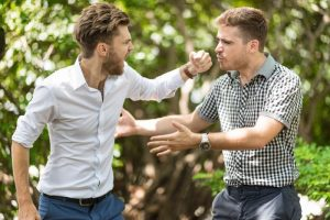 Two men in brawl