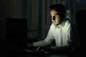 Man staring at computer